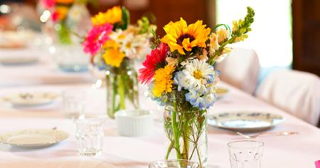 Mason jars with wildflowers
