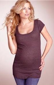 MICHAEL STARS Maternity Shine Tunic Scoop Top
