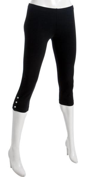 American app black stretch cotton button crop leggings