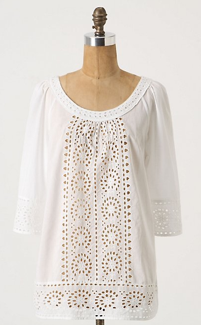 Anthro eyelet blouse